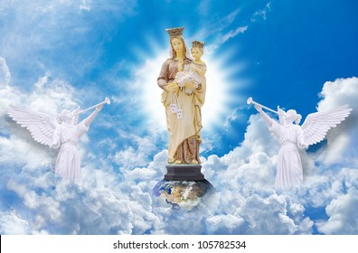 Jesus and Mary on heaven: Elements of this image furnished by NASA