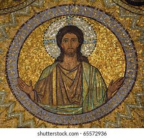 Jesus, mosaic, Jerusalem-The Church of Hagia Maria Zion-The Dormition Church