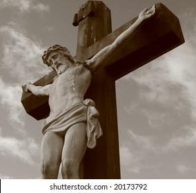 Jesus on the Cross in sepia