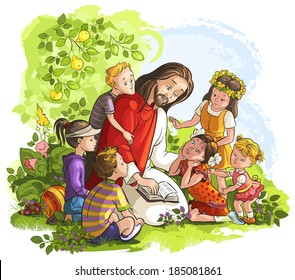 Jesus reading the Bible with Children. Christian and Easter holiday raster illustration. Also available vector and outlined (coloring book) version