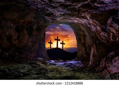 Jesus resurrection sepulcher grave cross crucifixion concept photo mount