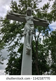 Jesus sculpture on a cross