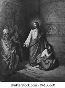 Jesus and the sinner.1) Le Sainte Bible: Traduction nouvelle selon la Vulgate par Mm. J.-J. Bourasse et P. Janvier. Tours: Alfred Mame et Fils. 2) 1866 3) France 4) Gustave Doré
