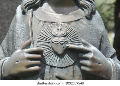 Jesus statue close up with Sacred heart. Jesus Christ the King, son of God.