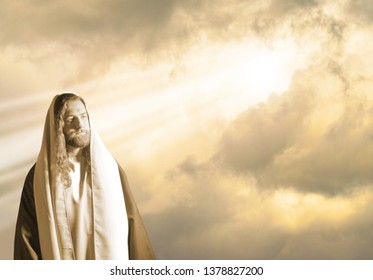 Jesus with Storm Clouds with Sunlight Bursting Through
