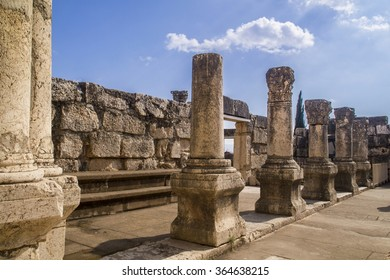 Jesus Synagogue ruins in Capernaum,Israel .Capernaum was a village in the time of the Hasmoneans, located on the northern shore of the Sea of Galilee,home of Saint Peter.