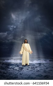 Jesus walking on the water over dark sky