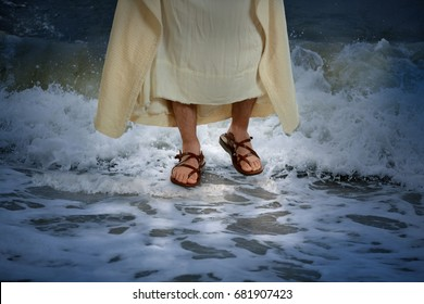Jesus walking on the water with waves crashing on the surface