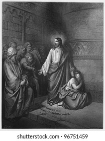 Jesus and the Woman Taken in Adultery - Picture from The Holy Scriptures, Old and New Testaments books collection published in 1885, Stuttgart-Germany. Drawings by Gustave Dore.