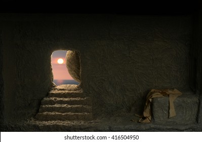 Jesus's empty tomb seen from the inside