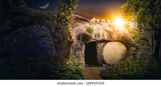 Jesus's empty tomb at sunrise. Concept of resurrection.