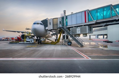 Jet aircraft docked in Dubai International Airport