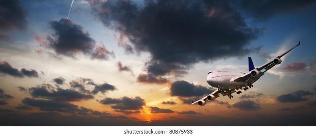 Jet aircraft in flight panorama