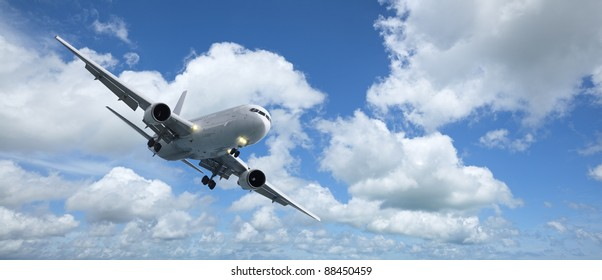 Jet aircraft is maneuvering for landing. Panoramic composition in high resolution.