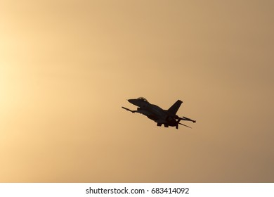 Jet aircraft on summer sunset