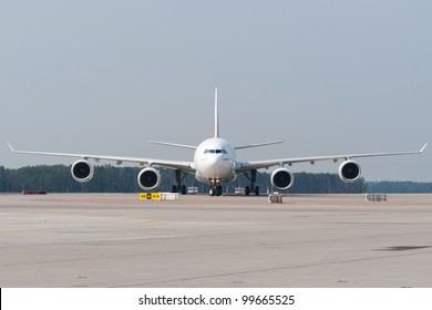 Jet aircraft is taxiing for arrival airport.