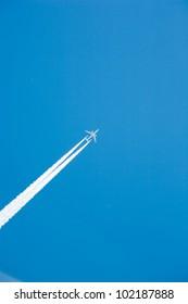 Jet airliner flying at high altitude