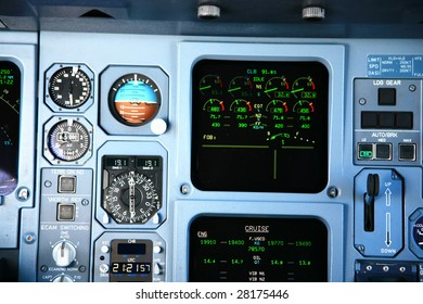jet airplane instruments in cockpit