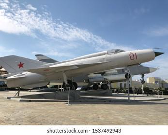Jet Airplane , Museum of military equipment in Verhnyaya Pyshma, Sverdlovskiy region, Russia, September 2019
