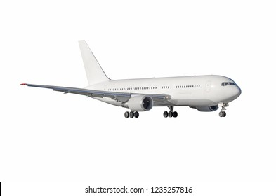 Jet airplane with ready landing gear isolated on white background