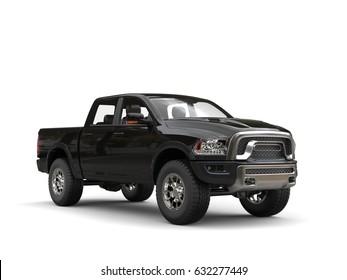 Jet black modern pick-up truck - studio shot - 3D Illustration