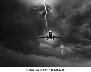 Jet carrier caught by lightning stroke - (Not a real situation) - Concept of emergency.