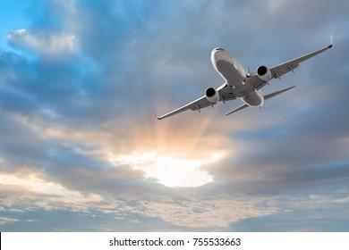 Jet cruising in a dark stormy sky