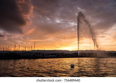 The Jet d'Eau fountain in Geneva before nightfall