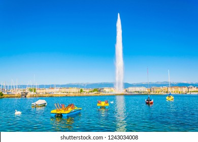 Jet d'eau fountain in the swiss city Geneva