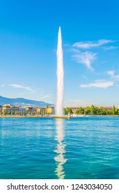 Jet d'eau fountain in the swiss city Geneva