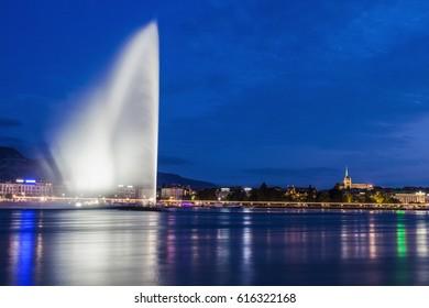 Jet d'Eau in Geneva. Geneva, Switzerland.