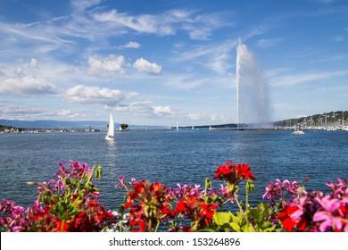 The Jet d'Eau, symbol fountain in Geneva, Switzerland