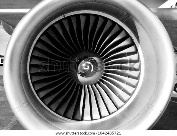 Jet engine black and white