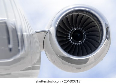 Jet Engine closeup on a modern private jet airplane