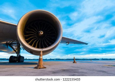 jet engine with cloudy sky