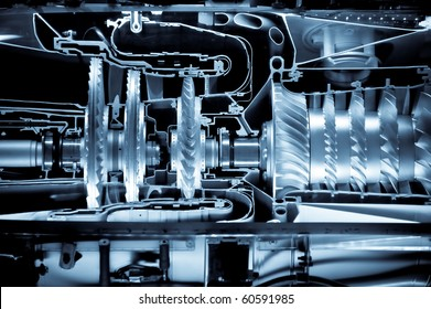 jet engine cross section cutaway detail with a blue tint