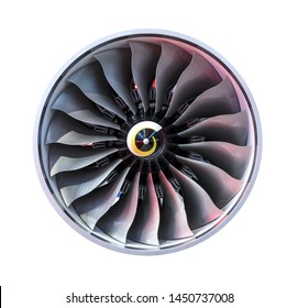 Jet engine front view isolated on white background