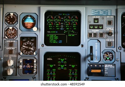 jet engine instrument panel at takeoff