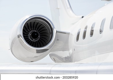 Jet Engine with a part of a wing on a luxury private aircraft