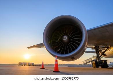 jet engine with sunset sky