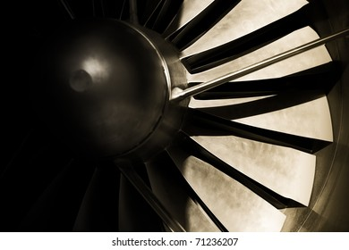 jet engine turbine blades abstract with strong shadows