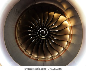 Jet engine turbine with sunlight(adjusted tone),aircraft and aviation industrial