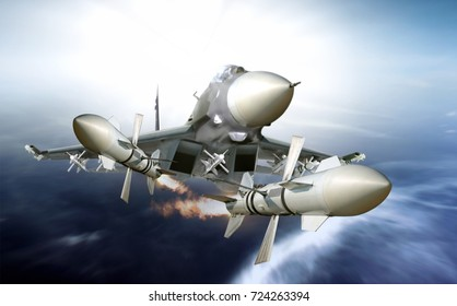 Jet fighter firing missile on high speed chase