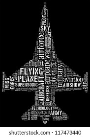 jet fighter info-text graphics composed in jet fighter shape concept on black background