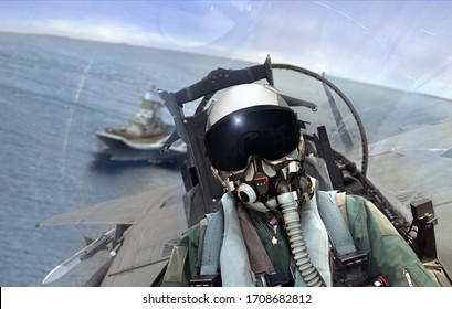 Jet fighter leaving aircraft carrier ship