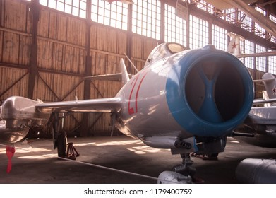 """Jet fighter """"Mig-15 bis"""" 1949 year in the aviation museum. June 18, 2018, Monino, Moscow region, Russia."""