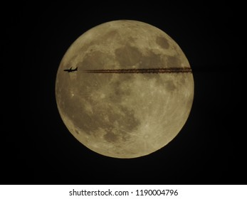Jet flying through the moon