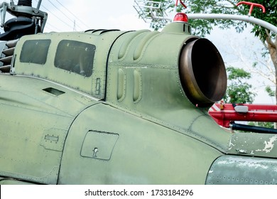 Jet intake on large rotary aircraft. helicopter jet engine turbine intake and rotor blade