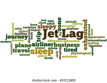 Jet Lag, word cloud concept on white background.