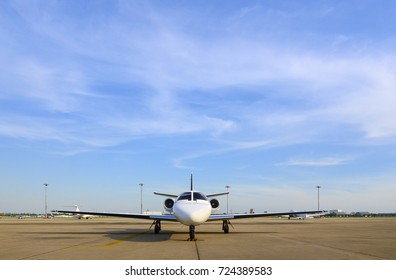 Jet plane business ready for boarding with blue sky